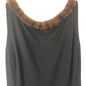 Little black dress with fur trim
